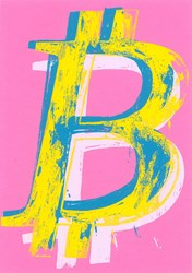 Bitcoin (Pink) by Mr. Brainwash - Limited Edition on Paper sized 18x24 inches. Available from Whitewall Galleries