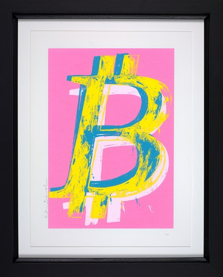 Bitcoin (Pink) by Mr. Brainwash - Framed Limited Edition on Paper